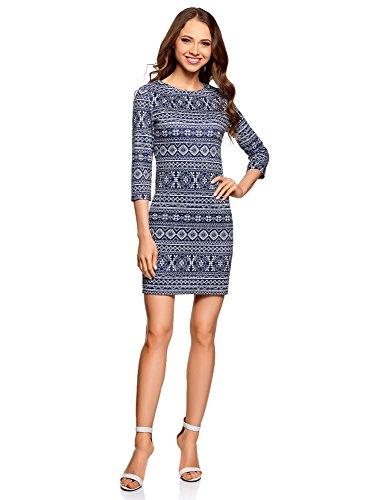 oodji Ultra Damen Enges Kleid mit Reißverschluss, Blau, DE 36 / EU 38 / S