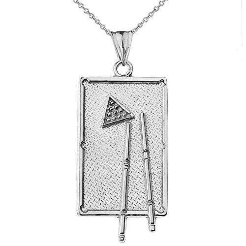 Billiards Pool Table Anhänger Halskette in Sterling Silber (Kommt mit Einer 45 cm Kette)