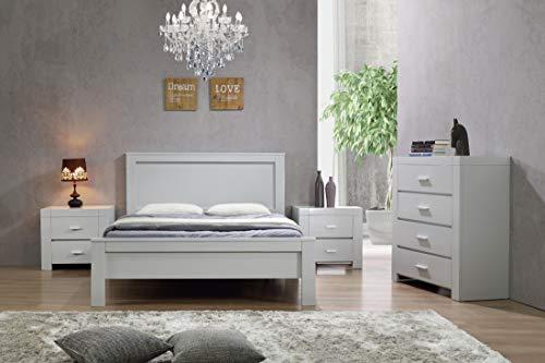 Marco de cama California tamaño king size, color gris, marco de madera maciza, marco de cama king size, muebles de dormitorio, gris