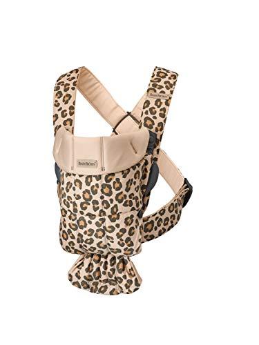 BABYBJÖRN Mochila Porta Bebé Mini, Algodón, Beige/Leopardo