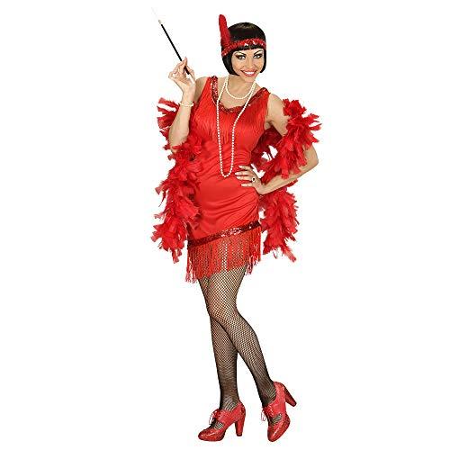 Widmann Charleston Kostuum voor volwassenen, jurk, handschoenen, hoofdband met veer X-Large rood