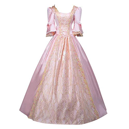 YEBIRAL Damen 1/2Ärmel Renaissance Mittelalter Kleid Party Viktorianischen Königin Kleider Gothic Jahrgang Prinzessin Spitzenkleid Bodenlänge Maxikleid