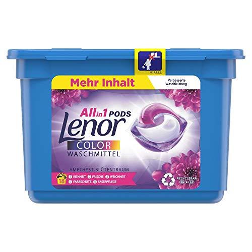 Lenor Waschmittel Pods All-in-1, Color Waschmittel, Farbschutz, Amethyst Blütentraum, 18 Waschladungen