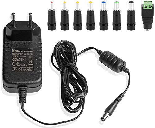 Ktec Universal AC DC Netzteil, Steckernetzteil 12V 2A (2000mA, 5,5/2,5mm) Adapter - Stromadapter mit 8er Hohlstecker Set, 183cm