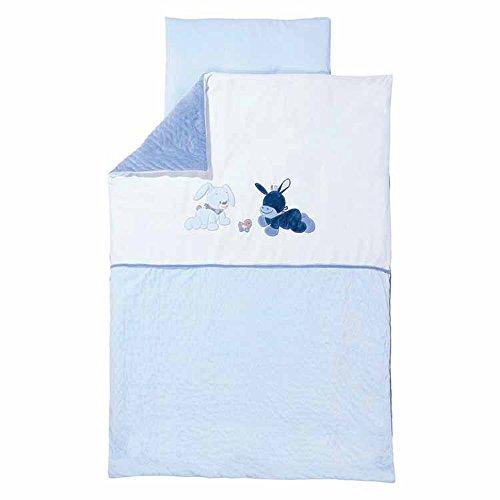 Nattou Bettwäsche-Set mit Wendemotiv, Bettdeckenbezug 100 x 140 cm und Kissenbezug 40 x 60 cm, Alex und Bibou, Blau/Weiß