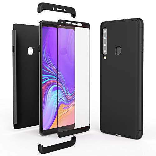 NALIA 360 Grad Handyhülle kompatibel mit Samsung Galaxy A9 2018, Full-Cover und Glas vorne hinten Hülle Doppel-Schutz, Dünn Ganzkörper Hülle Etui Handy-Tasche, Bumper und Bildschirmschutz, Farbe:Schwarz