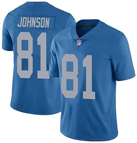 Modetrend Detroit Lions Calvin Johnson # 81 American Football Trikot Fans Sweatshirt Rugby Jersey Atmungsaktive Stickerei Wiederholbare Reinigung-3XL_Hellblau