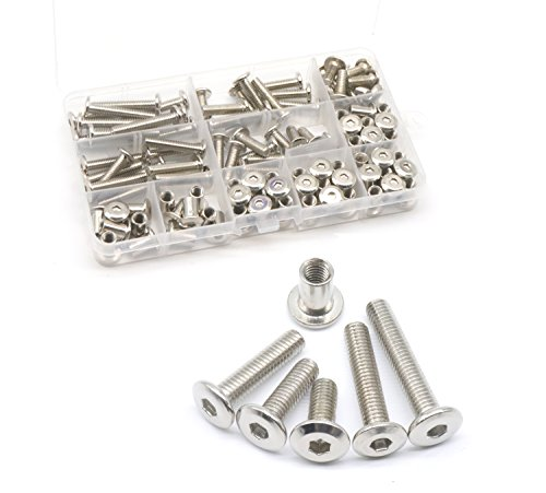 binifiMux 100pcs M6x15mm/20mm/25mm/30mm/35mm Rivet Countersunk Hex Socket Cap Bolts and Hex Head Barrel Nuts Assortment Kit for Furnitures Cribs Chairs, Nickel Plated