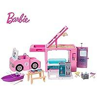 Barbie- Caravana para Acampar 3 en 1 Piscina, camioneta, Barca y 50 Accesorios, Multicolor (Mattel GHL93)