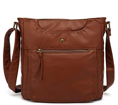 Scarleton Crossbody Shoulder Bag for Women, Ultra Soft Washed Vegan Leather, Brown, H181204