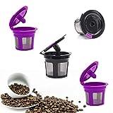 BLS 4Pcs K Cup capsulas reutilizable K filtro de café molido reutilizable Cápsulas filtros Reutilizables duradero Universal refillable K 2.0 y 1.0 Accesorios para cafeteras i cafilas