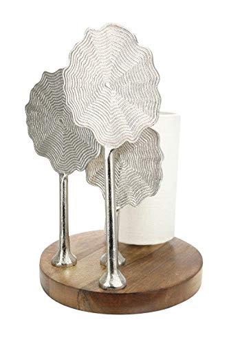 GILDE Lampe Flower - Tischlampe aus Aluminium mit einem Holz-Fuß H 37 cm