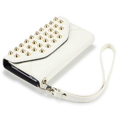 Covert - Funda de piel tipo cartera para iPhone 4, diseño de tachuelas (Accesorio teléfono inalámbrico)
