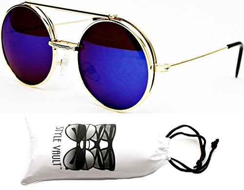 V137-vp Flip up/Out Round Metal Sunglasses 2' Lens (6006RV Gold-Blue Mirror, mirrored)