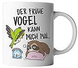 vanVerden Tasse - Der frühe Vogel kann mich mal - Faultier und Vogel mit rosa/pink Kissen -...