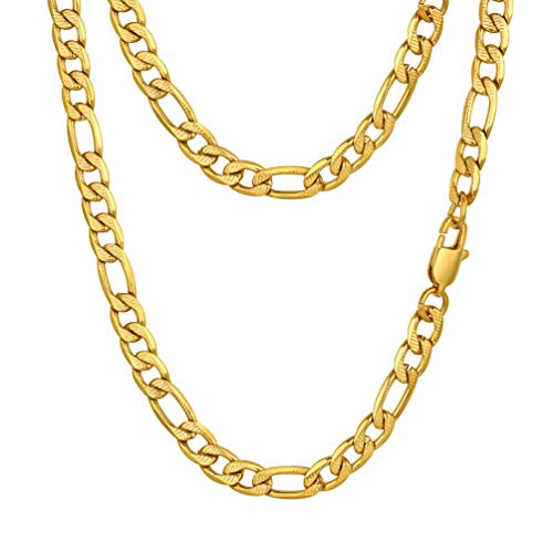 """PROSTEEL Gold Figaro Chain Necklace for Women Rock Hip Hop Jewelry 18"""" Rapper Mens Stainless Steel Chains Necklaces"""