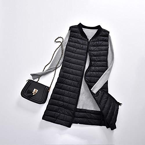Kudall donsvest voor dames, zwart, zonder band, lange hak, schouders, ultralicht, mouwloos, warm, onder katoenen gilets vest voor op reis, outdoor vrouwen