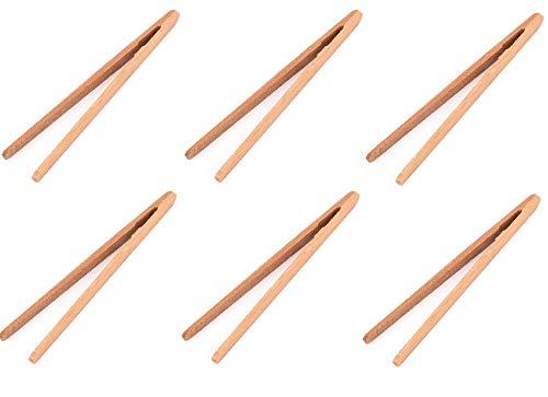 bick.shop 6 Holz Zangen 18cm Bambus Hot Pot Zangen Küchenzange Bambuszange BBQ Grillzange