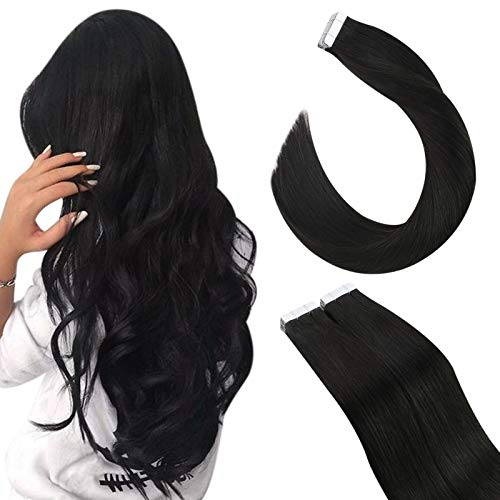 Ugeat Echthaar Tape on Extensions Skin Weft Tape Extensions Thick Human Hair 50Gramm 20Stucke Tape Tressen Haarverlängerung Echthaar (60cm, 1B Natürliches Schwarz)