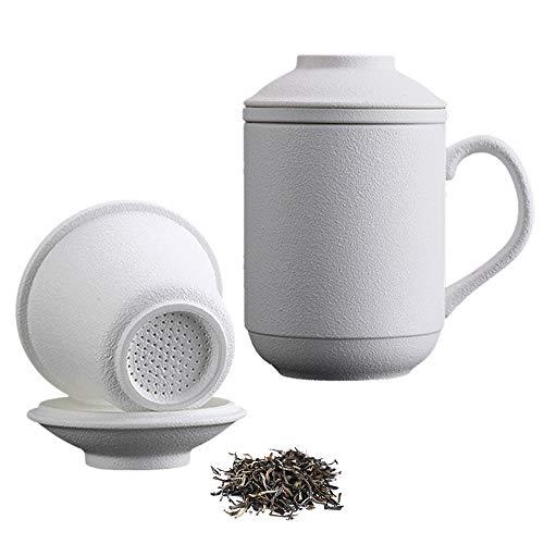15 oz Best Ceramic Tea Mug with Infuser and Lid Porcelain Matte White Tea Cup for Loose Leaf Tea, Japanese Tea Cup Set