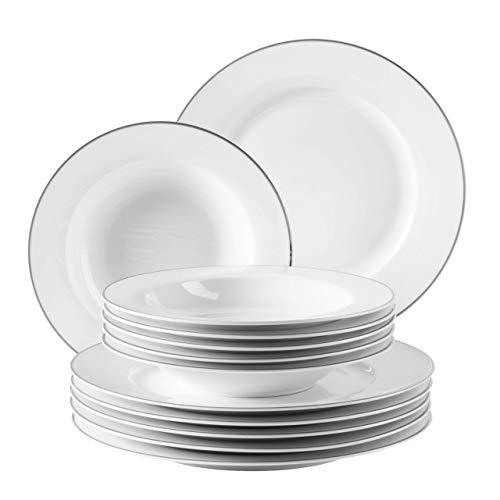 MÄSER 931531 professionell mattallrik set för 6 personer i vitt med silverkant, 12-delad matservice, porslin