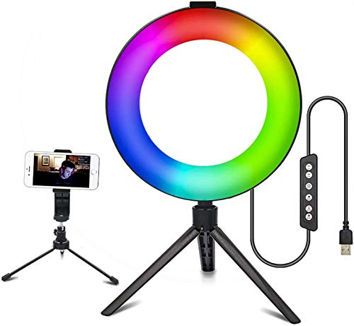 3T6B - Ring Light LED RGB de 6 Pulgadas con trípode Ajustable...
