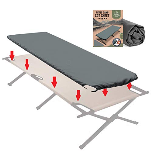 Fitted Cot Sheet for Camping Cots. Great Camping Accessory Bottom Sheet That Suits Most Army Cots, Military Cots, Travel Cots and Folding Cots. Keeps Your Sleep Pad Secure!