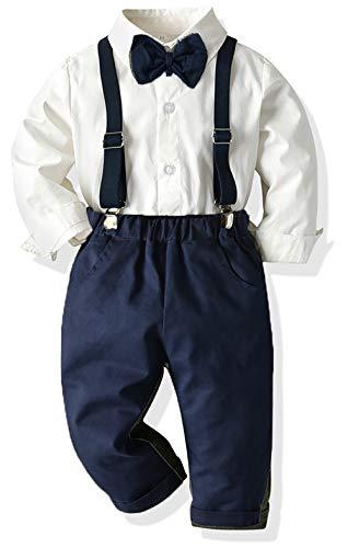 Yokald Ropa Bebe Conjunto Niño Traje de Vestir Conjuntos de Otoño e Invierno Camisa de Manga Larga Pantalón + Pajarita Tirantes Ropa Niño Caballero 6 Meses a 6 años (blanco001, 4T)