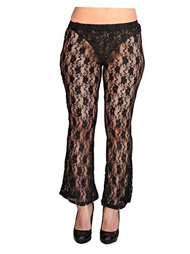 Broek - pantapareo - pareo - legging - vrouw - zwart kant - wijd uitlopend - zee - strand - transparant - cadeau-idee