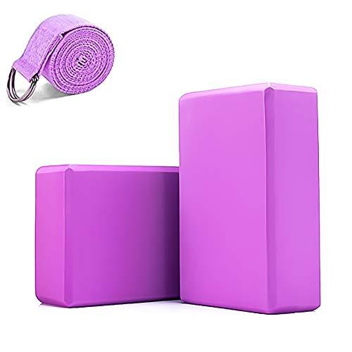 KHE - Juego de 2 bloques de yoga y 1 correa de correa, espuma EVA de alta densidad, ladrillos de corcho, juego de 2, cinturón de yoga, Púrpura