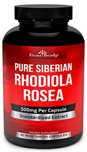 Pure Rhodiola Rosea Supplement - 500mg Siberian Rhodiola Extract 3% Rosavins and 1% Salidroside - for Thyroid Support, Stress Relief, Natural Energy, Brain Function and Focus - 90 Vegetarian Capsules