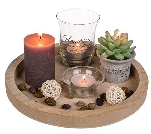 ReWu Dekor Dekoration Wohnzimmer Teelichthalter Dekoteller Rund mit Kerzen und Dekoration, Geschenkset 23 x 23 x 9 cm