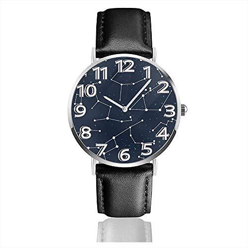 Sternbilder Cassiopeia Unisex Uhr Mode Sportuhr Lederuhr Armbanduhren Businessuhr