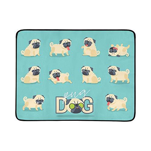 JEOLVP Zeichentrickfilm-Figur-Mops-Hund wirft Nette tragbare und Faltbare Deckenmatte 60x78 Zoll handliche Matte für kampierenden Picknick-Strand