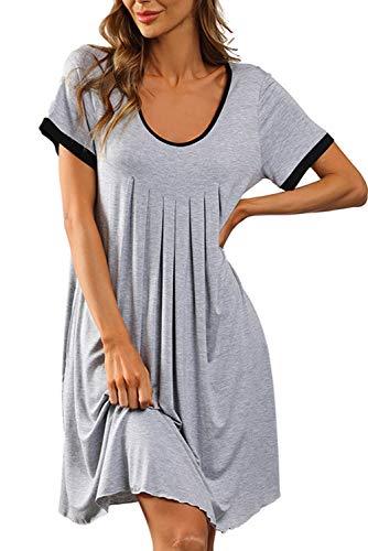 EVELIFE Camicie da Notte Donna Vestaglia Estate Manica Corta Pigiama Corto Vestito per La Gravidanza Parto Ospedale (Grigio,Small)