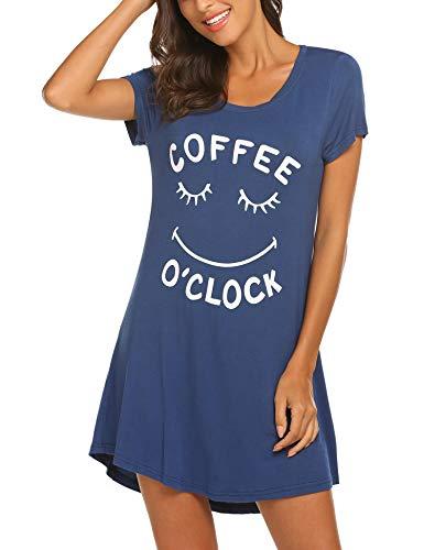 MAXMODA Camisón para mujer, de algodón, de manga corta, camisón para dormir, camisón para dormir, camiseta para dormir, tallas S-XXL A_azul. L