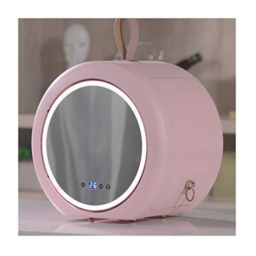 GSYNXYYA Mini Refrigerador Mantenga portátil Mantener Fresco y Fresco Frigorífico con Espejo LED HD, 6L Mini refrigerador, refrigerador de Belleza de cosméticos, (AC/DC),Rosado