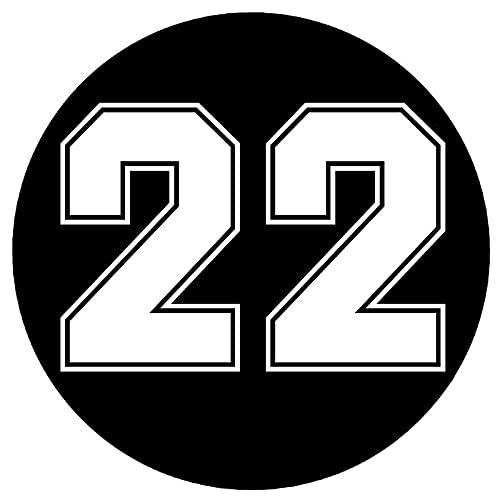 NCOBG 12x12 cm Número de carreras divertido 22 en círculo Vinilo Etiqueta engomada de coche reflectante Etiquetas de calcomanías de coche a prueba de automóviles en camión de coche Parachoques