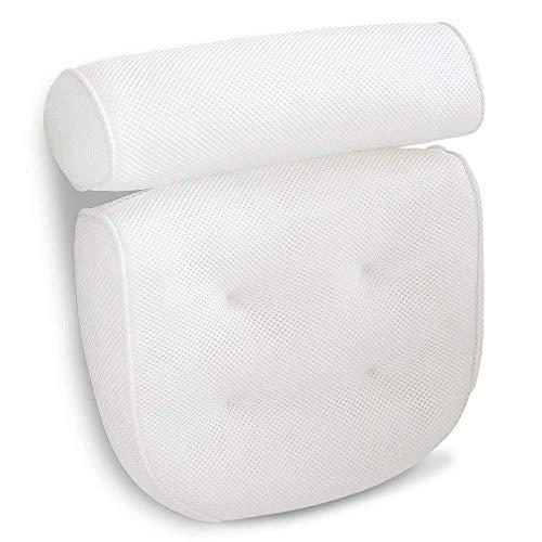 Jwkcm Bathtub Pillow, Headrest Bathtub with Suction Cups Ergonomic Bathtub Cushion for Home SPA Whirlpool, White, 38X33x10cm
