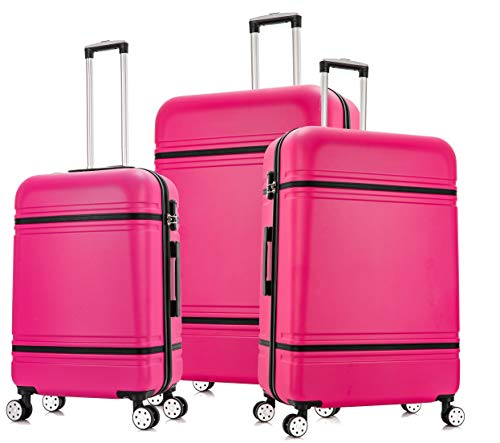 """DK Luggage Lightweight ABS-147 Hard Shell Suitcase 4 Wheel Spinner with Tan Trimming Pink Set of 3 Sizes - 28""""+24""""+20"""""""