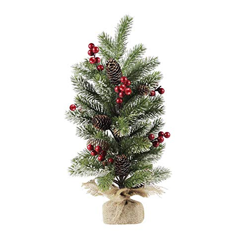 10Leccion Small Tabletop Christmas Tree Decor with Pinecone, Red Berries and Snowflake, Artificial Mini Christmas Table Tree, 20inch