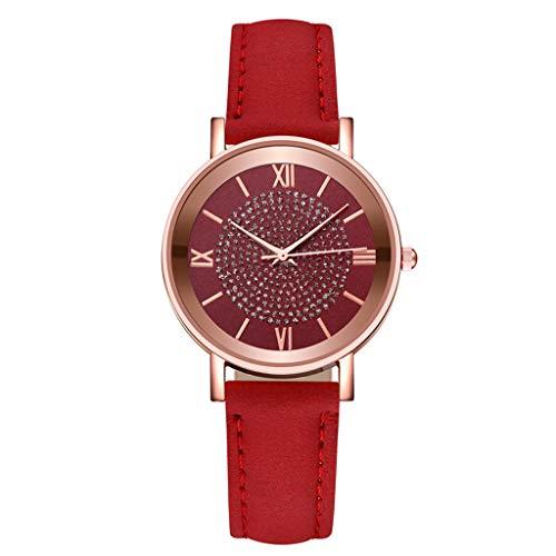 Damen Analoger Quarz Uhr Armbanduhr mit Lederarmband Mode Kristall Strass Armbanduhren Verstellbarer Riemen Damenuhr Valentinstag Muttertag Geburtstag Mama Freundin Geschenk