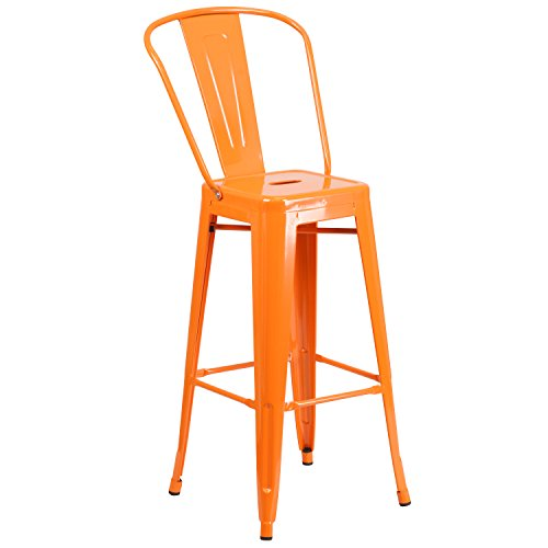 Flash Furniture 30'' High Orange Metal Indoor-Outdoor Barstool with Back