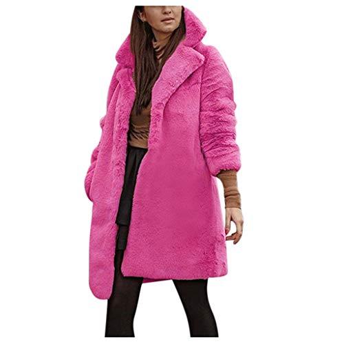 KPPONG Winterjacke Damen Einfarbiger Kunstpelzmantel Revers Lange Mantel Teddyfutter Outwear Übergangsjacke Parka
