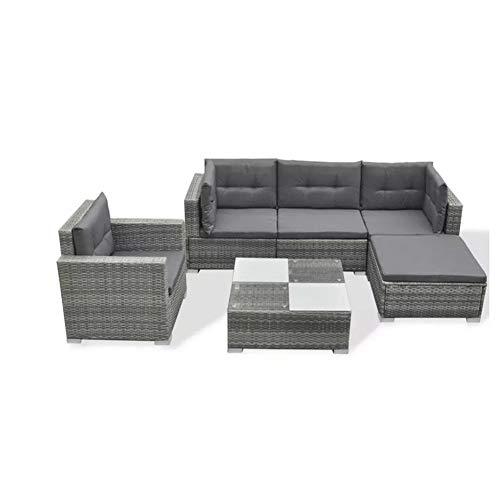 Lahomie- Juego de muebles de jardín, juego de muebles de jardín de salón con ratán 6 piezas Conjunto de muebles de jardín con cojines de ratán sintético, color gris