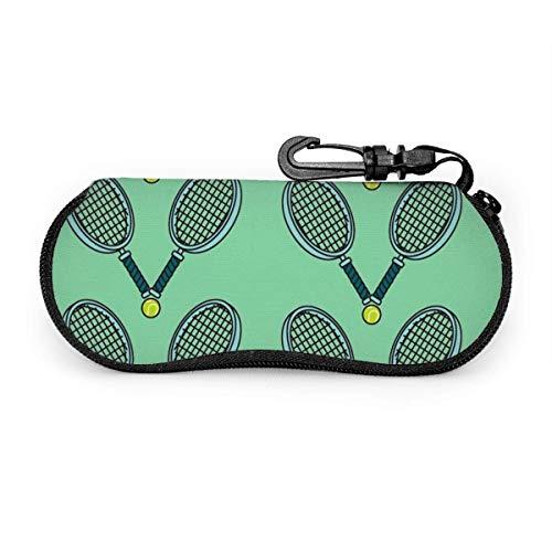 AOOEDM - Estuche para gafas de sol y anteojos - Soporte para gafas duradero con cremallera (pelota de tenis y raqueta)