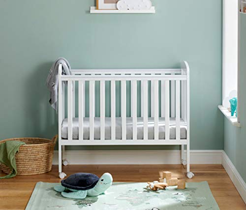 Babymore Space Saver Cot | 4 Adjustable Bed Positions| Super Compact Small Baby Cot | 2 Protective Teething Rails | Removable Wheels Easy Mobility (White)