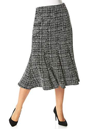 Roman Originals Vrouwen Uitgebreide Rok - Dames Jersey Een lijn Midi Pleat Comfortabele Elastische taille Trekken Op Zachte Dagelijkse Casual Werk Avond Office Rokken met Stretch