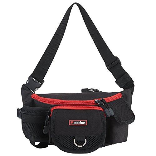 ピシファン(Piscifun)タックルバッグ ヒップバッグ ウエストバッグ 収納バッグ 旅行アウトドア用 軽量 大容量 多機能 ブラック