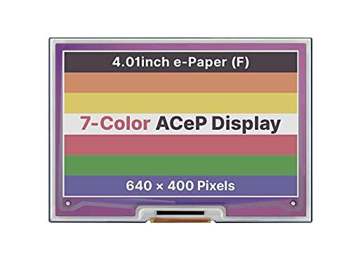 HEQIE-YONGP Pantalla de Tinta e- 4.01inch Papel E-Papel E-Tinta E-Tinta H-A-T para RASP-Berry PI, 640 × 400 píxeles, AC-EP 7-Color, Interfaz SPI para Bricolaje